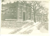 Snow covered rock steps to Quadrangle Hall, The University of Iowa, March 1932