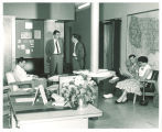 People in Psychology Department lounge, The University of Iowa, 1950s