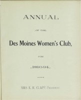Des Moines Women's Club Memorabilia 1893-1894 volume 2; Annual of the Des Moines Women's Club, for 1893-94; Mrs. E. R. Clapp, President