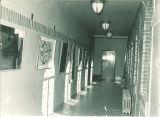 Art displayed in an Art Building corridor, the University of Iowa, October 1947