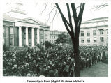 Crowd gathered on Pentacrest for President Kennedy memorial service, The University of Iowa, November 1963
