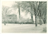 Winter scene with Engineering Building and Heating Plant, the University of Iowa, circa 1920