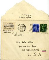S.H. Clarke envelope without letter addressed to Helen Patricia (Patsy) Wilson exchanging bookplates.