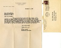 Duncan Burnet letter to Helen Patricia (Patsy) Wilson exchanging bookplates.