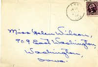 Self-Addressed, Stamped Envelope handwritten to Miss Helen Wilson