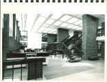 South lobby entrance and circulation desk at Main Library, the University of Iowa, 1972