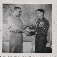 Receiving an award.