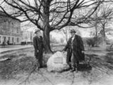 Dr. Pammel and Dr. W.T. Hornaday with stone tablet, 1927