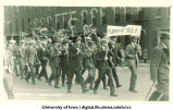 Men marching in procession, The University of Iowa, 1920s