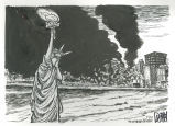 Statue of Liberty watching New York City burn