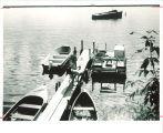 Students preparing to take core sample from Lake Okoboji at Iowa Lakeside Laboratory, West Lake Okoboji, 1962