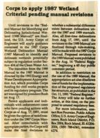 U.S. Army Corps Wetland Criterial, 1987