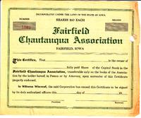 Chautauqua stock certificate