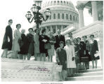 Sen. Jack Miller with Mary Louise Smith and other members of the Republican Women's Conference on Capitol Hill steps, Washington, D.C., 1966