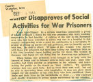 Editor disaproves of social activities for war prisoners