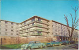 Postcard of northeast corner of Burge Hall, The University of Iowa, 1960s