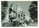 Female Scottish Highlanders in front of west side of Old Capitol, The University of Iowa, 1960s