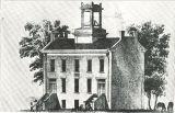 Artist's sketch of Mechanics Academy, the University of Iowa, 1854