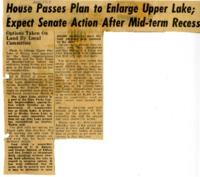 House passes plan to enlarge Upper Lake.