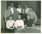 Staff members of The Daily Iowan in newsroom, The University of Iowa, 1955