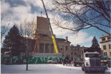 New dome being placed on Old Capitol, The University of Iowa, February 24, 2003