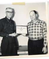 Harold Wilms presents award to Lorraine Gray, 1966