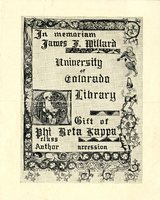 University of Colorado Library Memorial Bookplate to James F. Willard