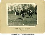 Wellesley playing field hockey against All-England team, Wellesley College, November 5, 1921