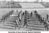 Cadets in bayonet training on Iowa Field, The University of Iowa, 1919