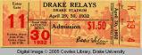 Drake Relays, 1932, Admission Ticket