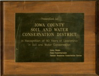 Iowa County Soil and Water Conservation District Fifty Years of Leadership award
