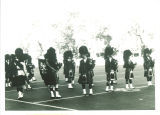Scottish Highlanders practicing on football field, The University of Iowa, 1960s?