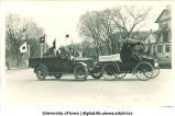 Soldiers driving in Mecca Day parade, The University of Iowa, 1921