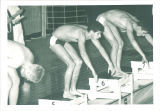 Swimmers at starting blocks, The University of Iowa, March 1967