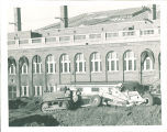 Road construction in front of Iowa Memorial Union, the University of Iowa, 1955