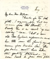 Sarah de Forest Starr Thank You letter to Helen Patricia (Patsy) Wilson exchanging bookplates.