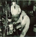 Men working on experiment in a lab, The University of Iowa, 1930s