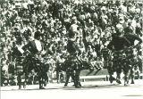 Scottish Highlander dancers at Kinnick Stadium, The University of Iowa, 1970s