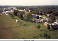 Aerial view Homestead looking north west, Homestead, Iowa, Aug. 23, 1989
