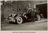 Milton Kirch in front of garage