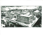 Sketch of Iowa Memorial Union, the University of Iowa, 1950s