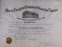 Mercy Hospital Nursing School Graduation Certificate - 1916