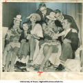 Iowa football players visit backstage with chorus girls at night club, Hollywood, Calif., December 26, 1956