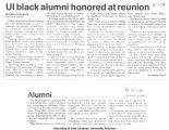 """UI black alumni honored at reunion,"" August 1, 1988"