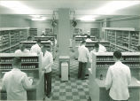 Students and professor at work stations in pharmacy, The University of Iowa, October 24, 1955