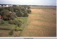 Aerial view Homestead looking east, Homestead, Iowa, Aug. 23, 1989