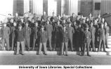 Cadets and cadre on Old Capitol steps, The University of Iowa, between 1943 and 1944