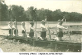 Practicing the bow stroke and reach dock drill, The University of Iowa, 1930s