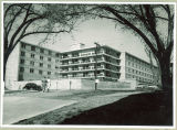 Northwest view of Burge Residence Hall, the University of Iowa, May 1959