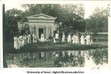 Women in Greek costume by mock Greek temple, City Park, The University of Iowa, 1915